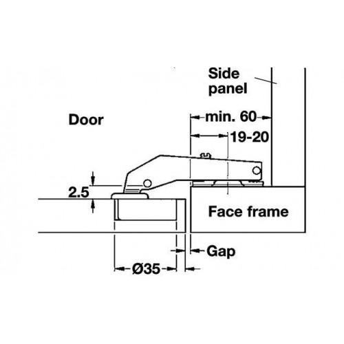 Hafele Петля METALLA D SM N 90° с доводчиком 45/9,5 (clip-on)