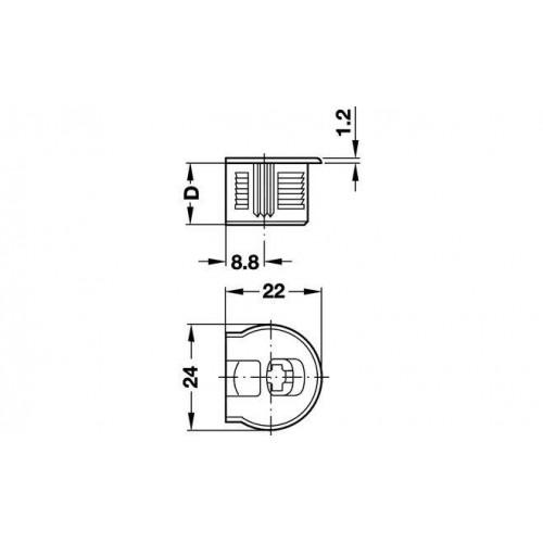 Стяжка - RAFIX для детали 16мм, Черный, глуб. сверлен. 12,7 мм, Hafele