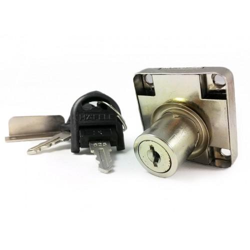"""Замок """"квадрат"""" для ящиков 19 мм, никель, ломан. ключ, Hafele (замок+секрет+кольцо)"""
