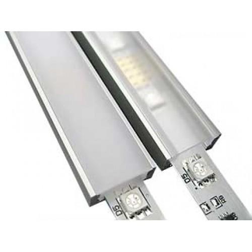 Профиль LED накладной с молочной вставкой, L-2000 мм,  белый